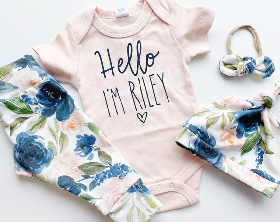 Peach Navy Floral Going Home Set