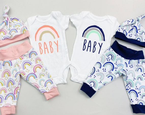 Rainbow Girl Boy Twins Coming Home Outfit