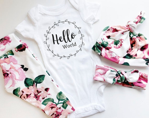 Soft Cream Pink Floral Coming Home Outfit