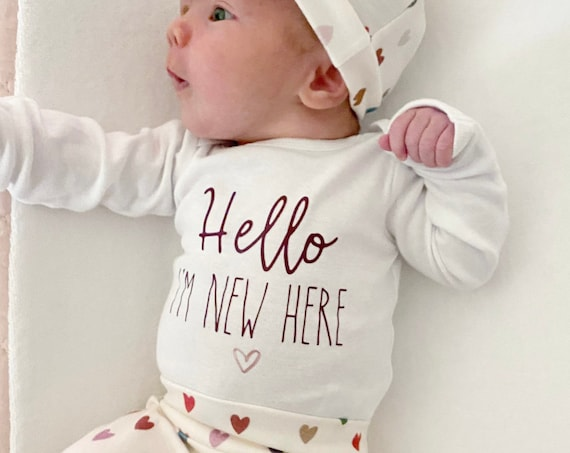 Muted Hearts on Cream Coming Home Outfit   Going Home Set   Sweet Baby Girl   Newborn   Hello I'm   Personalized Name Preemie