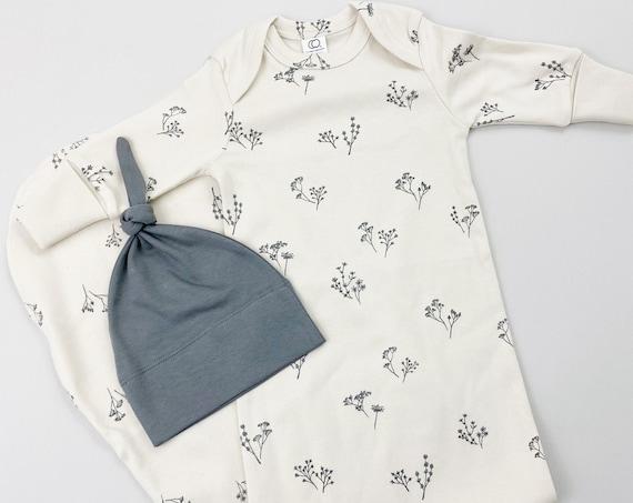 Floral Organic Newborn Girl Gown