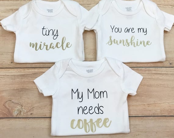 New Baby Gift Set of 3 Gender Neutral Bodysuits