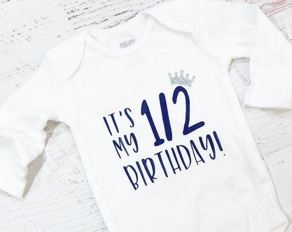 Girl Half Birthday Shirt Bodysuit / 6 Months Onesie / Baby Girl / Purple / Glitter Crown