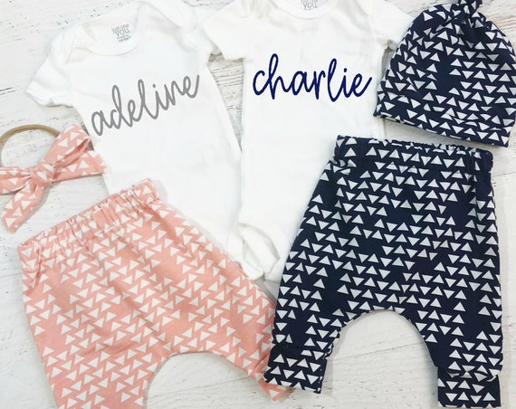 Pink & Blue Pattern Twins Coming Home Outfit