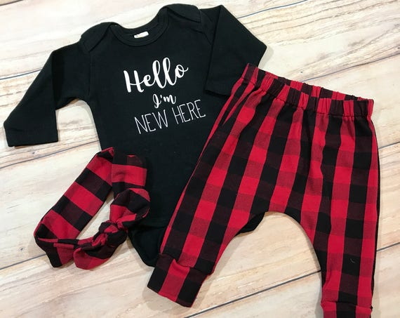 Baby Girl Coming Home Outfit / Buffalo Plaid / Knot Headband / Newborn