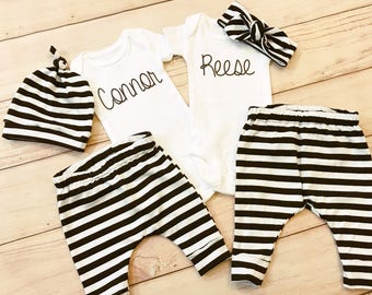 Twins Coming Home Outfit / Boy Girl / Stripes / Knot Hat / Headband