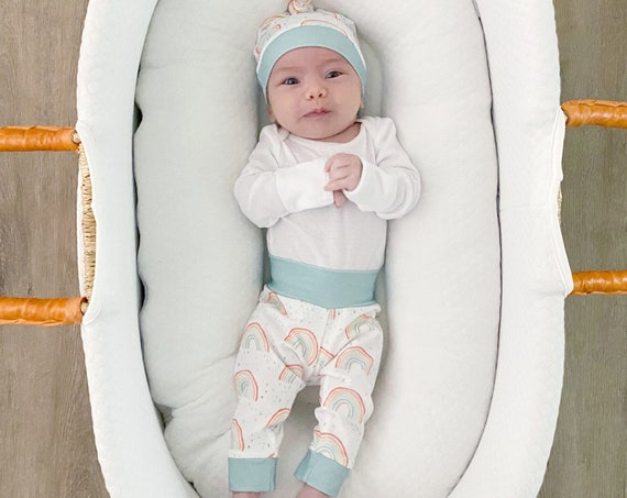 Rainbow Baby Gender Neutral Going Home Outfit   Boho   Unisex Coming Home Set   Personalized Name   Hello Im New Here
