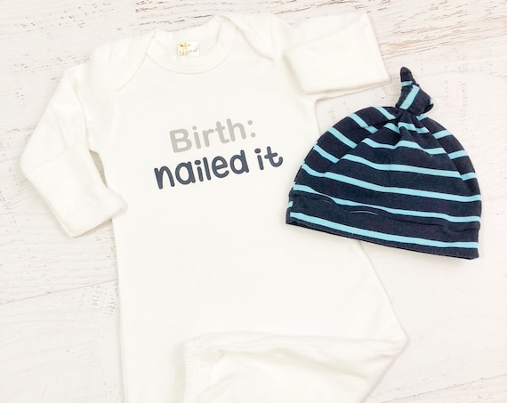 Birth Nailed It Coming Home Outfit / Baby Gown / Newborn Baby Boy Baby Gift / Blue Aqua Stripe / Knot Hat
