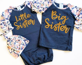 0119272d3ce Navy Big Sister Little Sister Sibling Shirts   Sisters Matching Gown Set    Ruffle Floral   Knot Hat