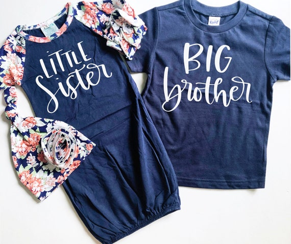 Navy Ruffle Little Sister Big Brother Matching Sibling Set