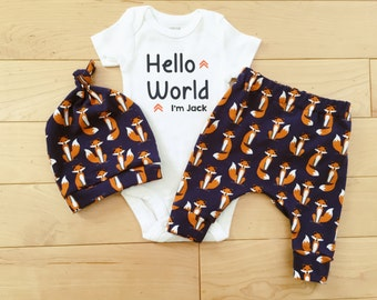 Navy Foxes Baby Boy Coming Home Outfit / Knot Hat / Bodysuit