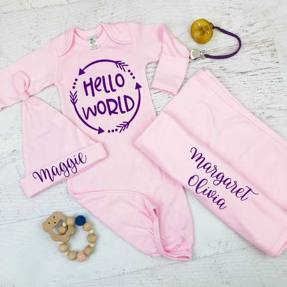 Hello World Pink Baby Girl Coming Home Gown