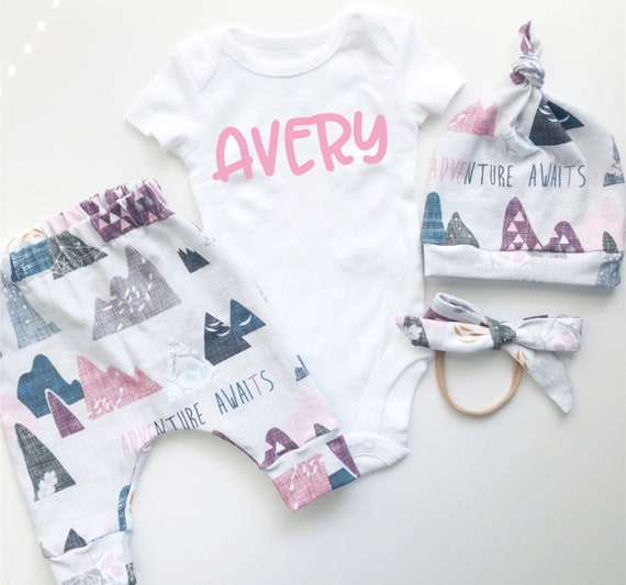 Pink Adventure Awaits Mountains Coming Home Outfit Set