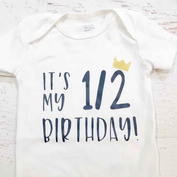 Baby Boy Half Birthday Shirt Bodysuit / 6 Months Onesie / Baby Boy / Blue / Crown