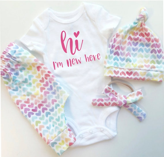Hi Im New Here Rainbow Hearts Baby Girl Coming Home Outfit