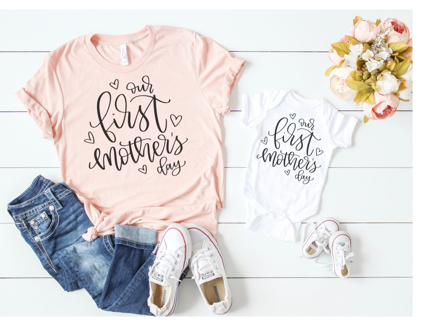 8082303295af5 Our First Mothers Day Mommy and Me Matching Shirt