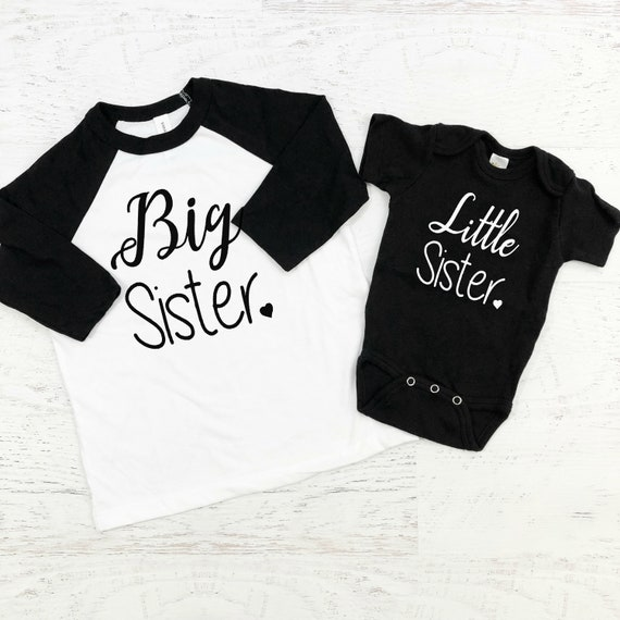 Big Sister Little Sister Sibling Shirts / Sisters Matching / Sibling Outfits / Girl / Modern / Black White / Unisex