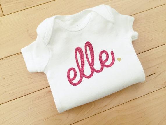 Custom Baby Girl Glitter Name Bodysuit