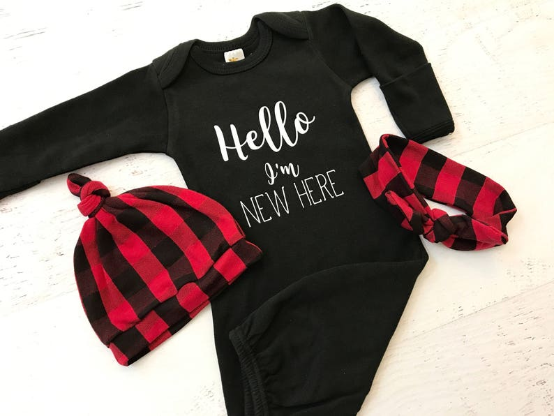 Coming Home Outfit / Gown / Gender Neutral / Buffalo Plaid / image 0