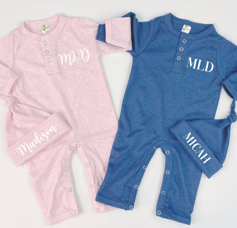 Baby Name Romper Baby Girl Clothes Personalized Monogram Initials Pink Blue Baby Boy Newborn Going Home Outfit Coming Home Set
