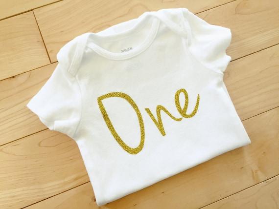 Gold Glitter One First Birthday Bodysuit
