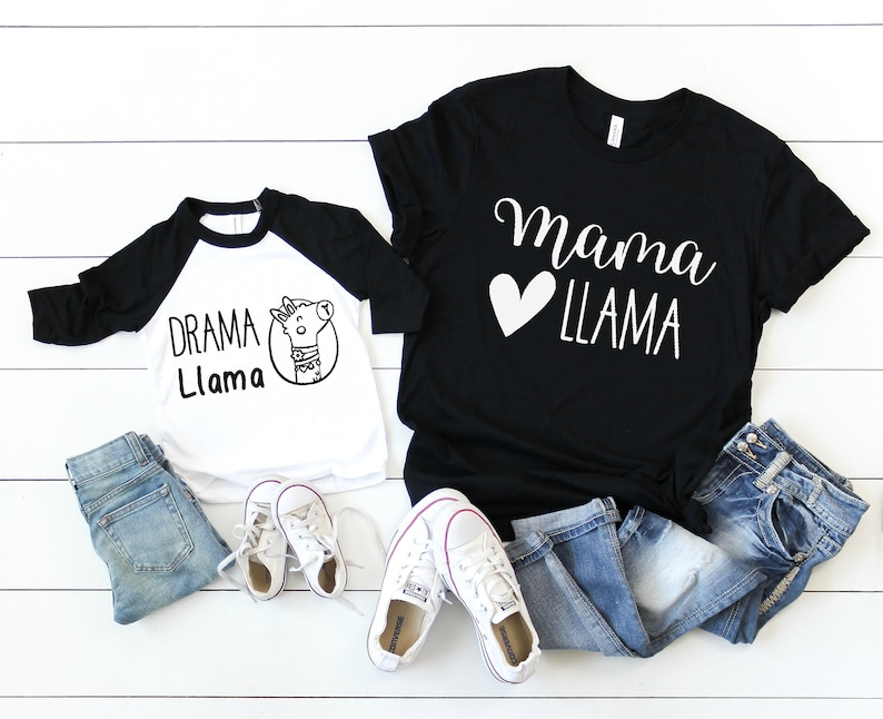 736813089 Mama Llama / Drama Llama / Mommy and Me Set / Mom Kids Shirts | Etsy