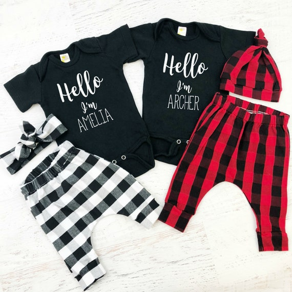 Twins Coming Home Outfit / Buffalo Print / Red Plaid / Boy Girl Twins / Knot Hat / Headband