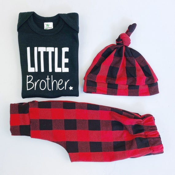 Little Brother Buffalo Plaid Baby Boy Coming Home Outfit