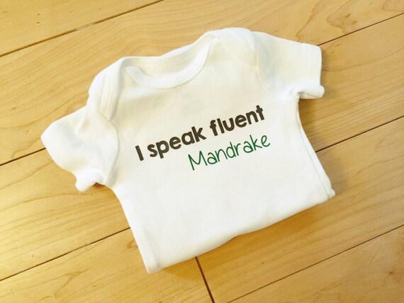 I Speak Fluent Mandrake Baby Bodysuit / Harry Potter Baby Funny / Baby Harry Potter / Unisex Baby Clothes