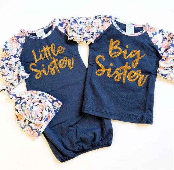 Navy Big Sister Little Sister Sibling Shirts