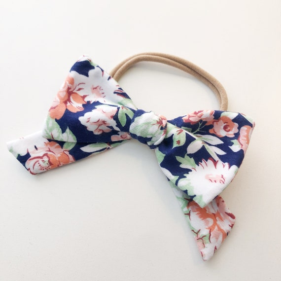 Little Girl Navy Floral Bow