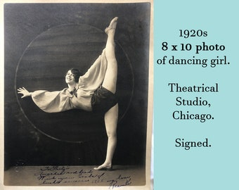 """1920s 8 x 10 Photo of Dancing Girl performer showgirl theatrical studio Chicago flapper girl jazz era art deco signed by the dancer """"Peanut"""""""
