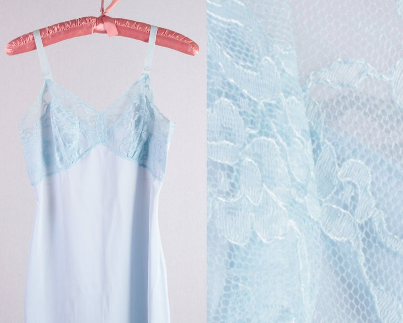 4fe72eac990 50s Baby Blue Nylon Slip with Lace Detail something blue pinup
