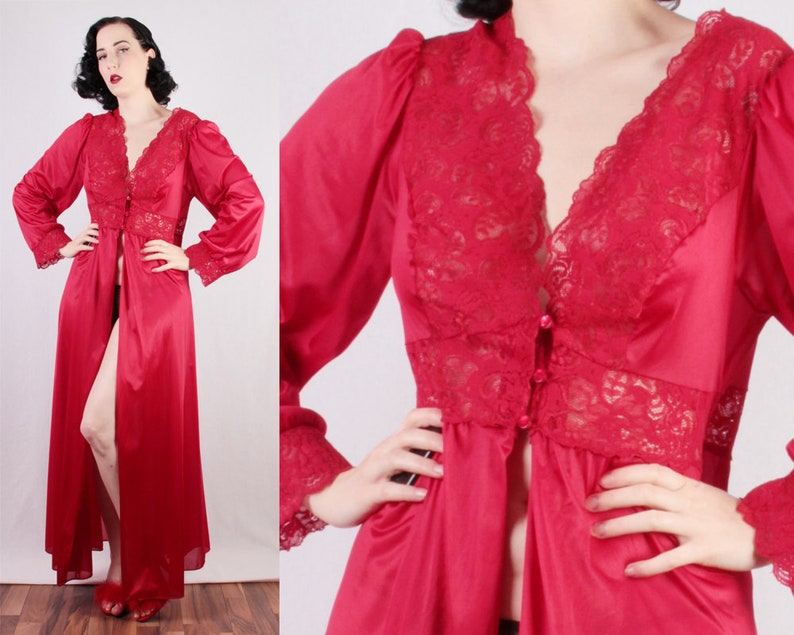 80s Red Nylon robe dressing gown red lace burlesque pinup girl  3ae49768a