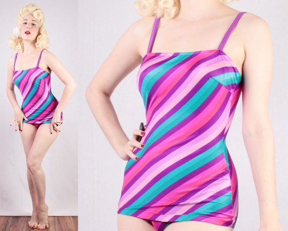 b4b032ac79 60s Swimsuit Purple Pink Turquoise Bullet Bra Bust pinup girl