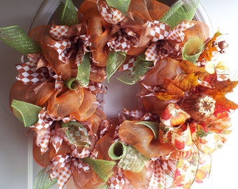 Fall Mesh Wreath with Pumpkin Accents. ON SALE! 25% off. Reg 65.00 NOW 48.75