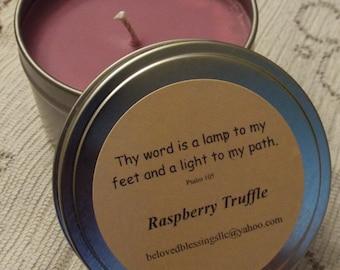 Raspberry Truffle 8oz Soy Candle Tin