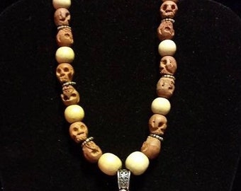 Wood skull necklace