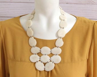 Tagua yellow and gray long layered necklace Statement yellow necklace Long bold bohemian chic necklaceTagua Handmade necklace gift ideas