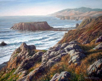 """Print from Original Painting """"Goat Rock Overlook"""", California Seascape, Ocean Painting, Giclee on Canvas"""