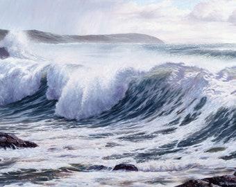 Passing Showers,  Seascape Art, Ocean Painting, Pink Sky, Sonoma Coast