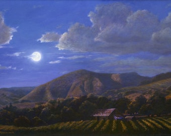 """Vineyard Print, """"Valley of the Moon"""" Sonoma County, Landscape Paintings, California Scenery, Wine Country Scene"""