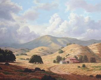 "California Landscape Print ""Fetherolf Ranch"", Oil Painting, Old Barn, Oak Trees, Rolling Hills"