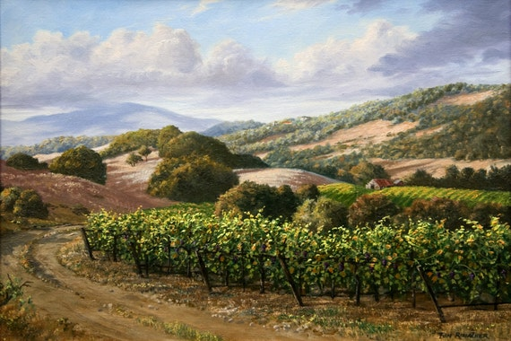 a67524f17ae Vineyard Print Landscape Paintings California Wine Country