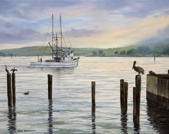 """Giclee Print on Canvas, """"Heading Out"""" Fishing Boat, Pelicans, Cormorants, Oil on Canvas, Nautical  Painting, Bodega Bay"""