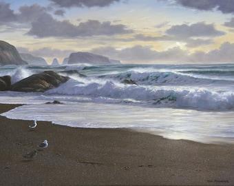 North Goat Rock, Seascape Print, Beach Painting, Sunset