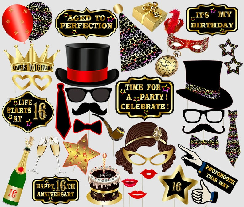 graphic regarding Free Printable Photo Booth Props Birthday referred to as Printable cute 16 photograph booth props 16th birthday photobooth props celebration photobooth props lips black and gold props birthday social gathering hats