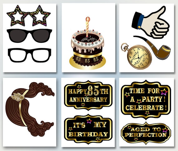 Photo Booth Props 85th Birthday Printable Photobooth Props Etsy
