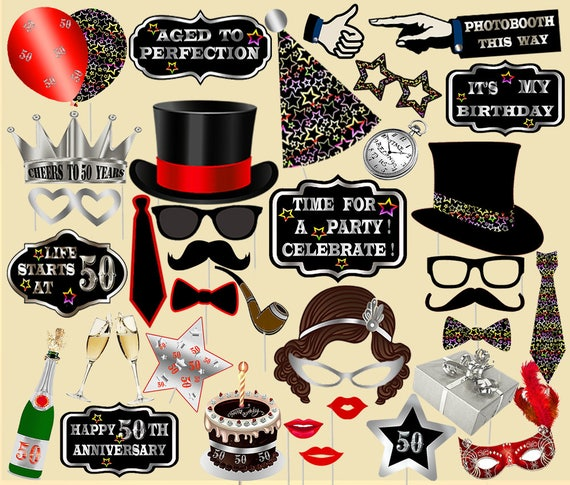 Fiftieth Birthday 50th Photo Booth Props