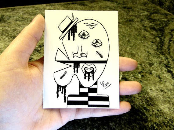 tefnit sticker abstract face drawing blackwhite modern etsy
